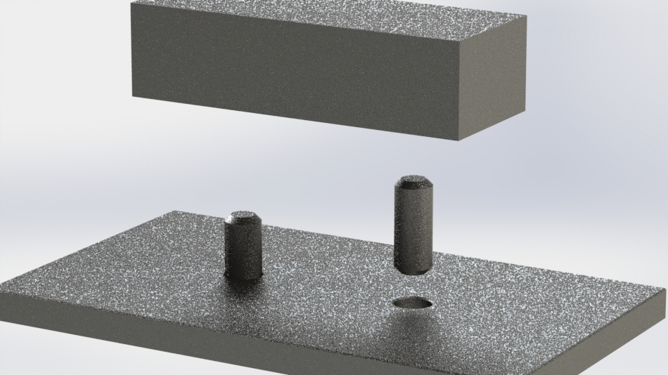 Chamfers on dowel pins ease assembly by self-locating the parts
