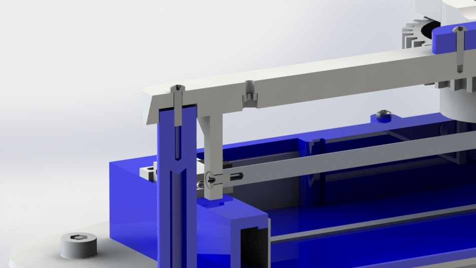 The bore on the back of the cross bar (in white) allows the parts to self-fixture while the screws are applied.