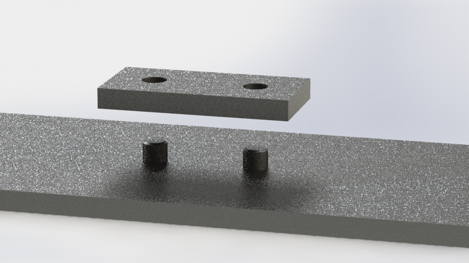 simple block with holes for two dowel pins, which will align this block on flat plate
